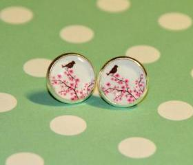 Bird on Cherry Blossom Silver Resin Post Earrings