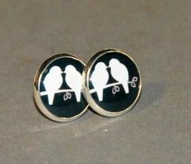 Pair of Silhouette Love Birds Post Silver Earrings