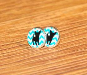 Sweet Chihuahua on Chevron Silver Resin Post Earrings