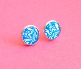 Blue Damask Pattern Resin Post Silver Earrings