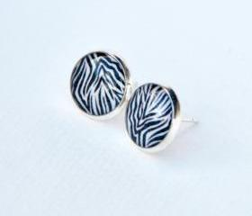 Zebra Pattern Resin Post Silver Earrings