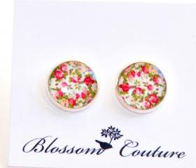 Shabby Chic Roses Resin Post Silver Earrings