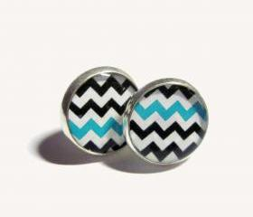 Turquoise and Black Chevron Pattern Resin Post Silver Earrings