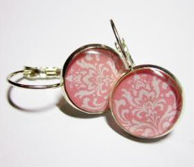 Pink Damask Leverback Silver Resin Earrings