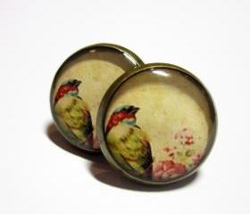 Bird in Garden Antique Brass Post Resin Earrings