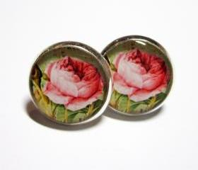 Pink Cabbage Rose Silver Resin Post Earrings
